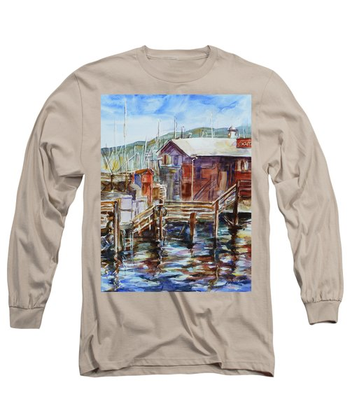 At Monterey Wharf Ca Long Sleeve T-Shirt by Xueling Zou