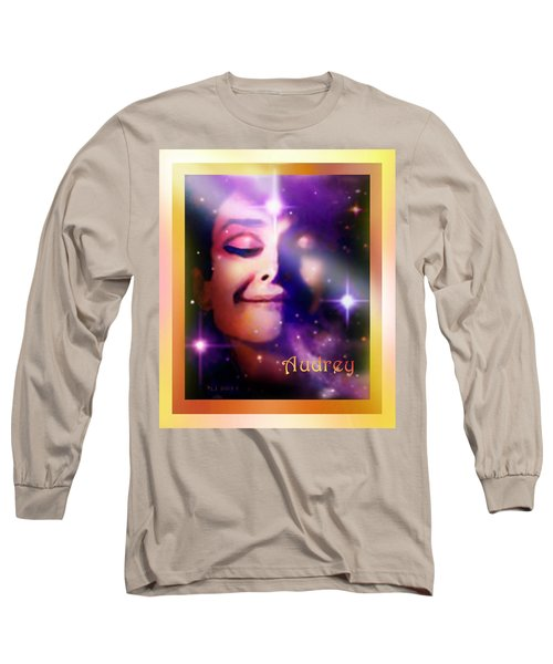 Long Sleeve T-Shirt featuring the painting Audrey - Audrey Hepburn by Hartmut Jager