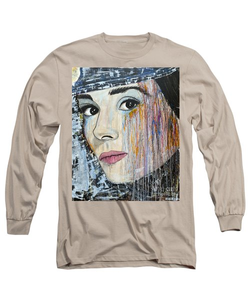 Long Sleeve T-Shirt featuring the painting Audrey Hepburn-abstract by Ismeta Gruenwald