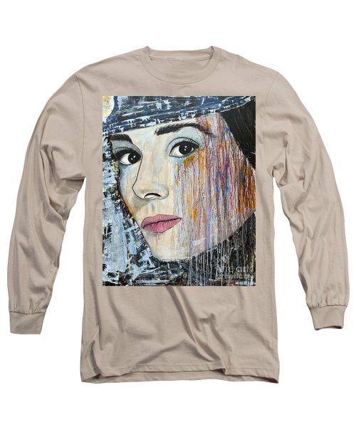 Audrey Hepburn-abstract Long Sleeve T-Shirt