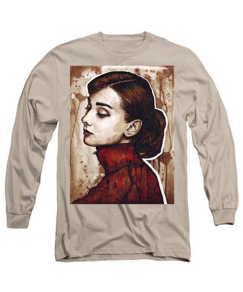 Audrey Hepburn Long Sleeve T-Shirt by Olga Shvartsur