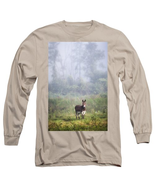 Long Sleeve T-Shirt featuring the photograph August Morning - Donkey In The Field. by Gary Heller