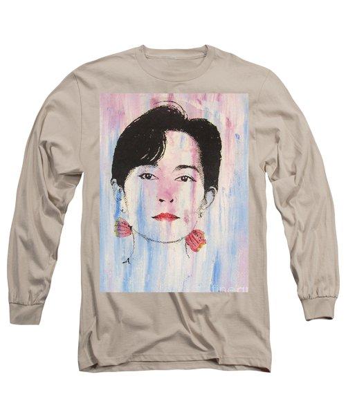 Aung San Suu Kyi Long Sleeve T-Shirt by Roberto Prusso