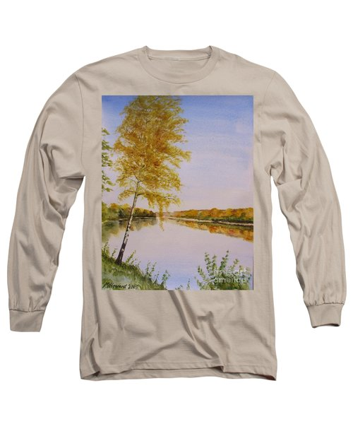 Long Sleeve T-Shirt featuring the painting Autumn By The River by Martin Howard