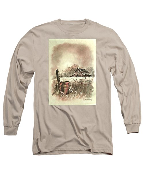 Long Sleeve T-Shirt featuring the painting Autumn In View At Mac Gregors Barn by Carol Wisniewski