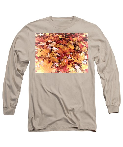 Autumn Leaves On The Ground In New Hampshire In Muted Colors Long Sleeve T-Shirt