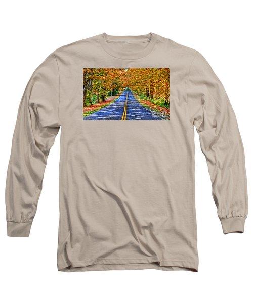 Autumn Road Oneida County Ny Long Sleeve T-Shirt by Diane E Berry