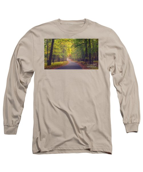 Long Sleeve T-Shirt featuring the photograph Autumn Road by Rima Biswas