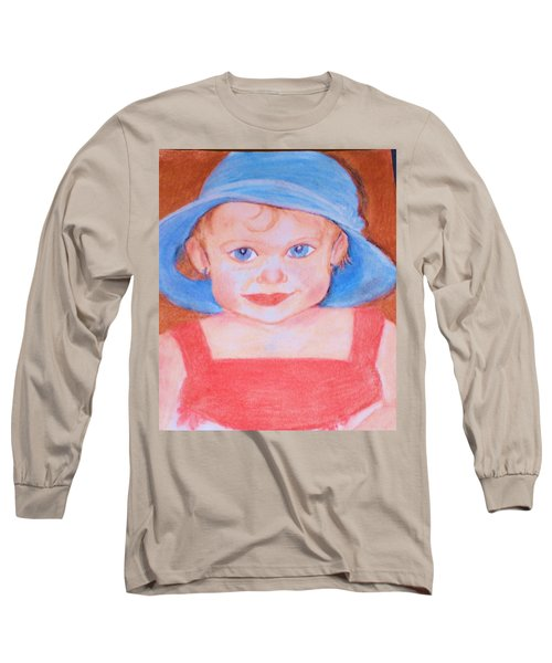 Baby In Blue Hat Long Sleeve T-Shirt by Christy Saunders Church