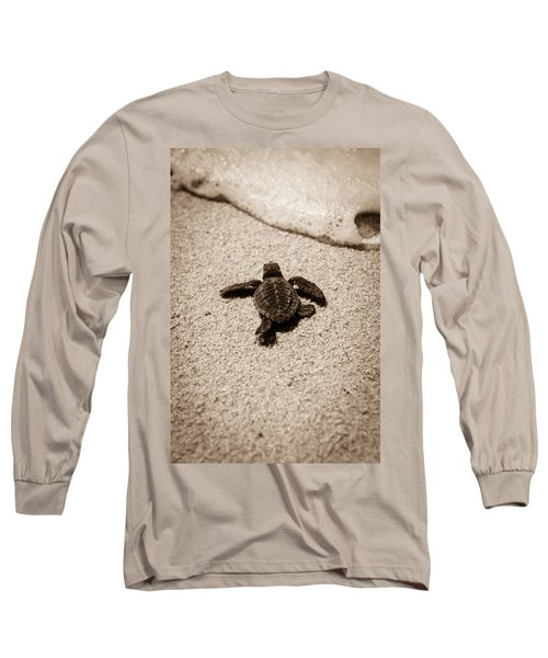 Baby Sea Turtle Long Sleeve T-Shirt by Sebastian Musial