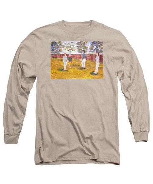 Long Sleeve T-Shirt featuring the painting Backyard Cricket Under The Hot Australian Sun by Pamela  Meredith