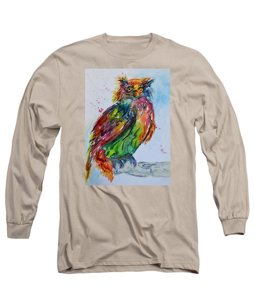 Long Sleeve T-Shirt featuring the painting Baffled Owl by Beverley Harper Tinsley