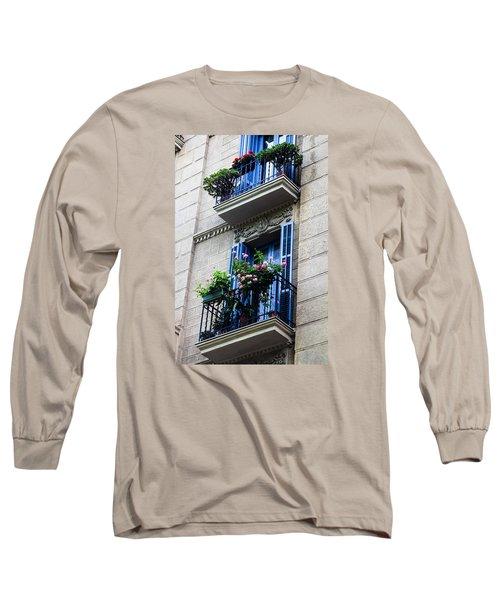 Balconies In Bloom Long Sleeve T-Shirt by Menachem Ganon