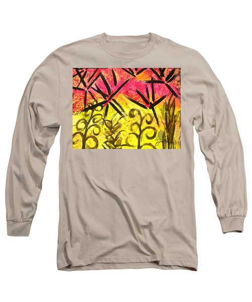 Long Sleeve T-Shirt featuring the painting Bamboo In The Wind by Joan Reese