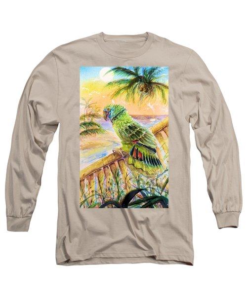 Banana Tree And Tropical Bird Long Sleeve T-Shirt