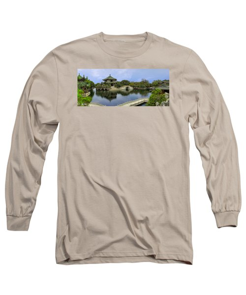 Long Sleeve T-Shirt featuring the photograph Baomo Garden Temple by Nicola Nobile