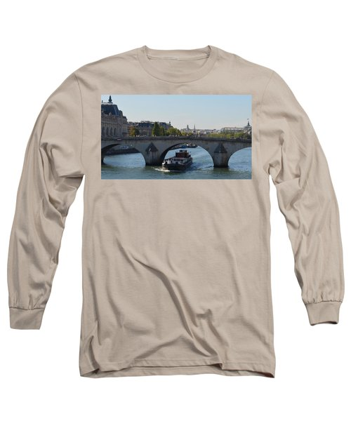 Barge On River Seine Long Sleeve T-Shirt by Cheryl Miller