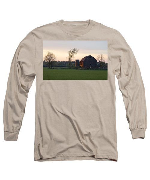 Barn At Dusk Long Sleeve T-Shirt by David Porteus