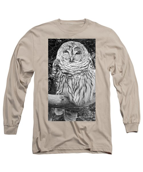 Barred Owl In Black And White Long Sleeve T-Shirt by John Telfer