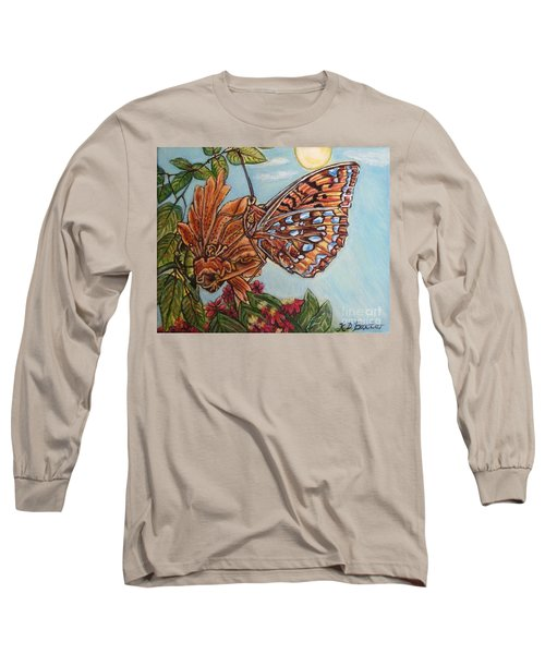 Basking In The Warmth Of The Sun In A Tropical Paradise Painting Long Sleeve T-Shirt by Kimberlee Baxter