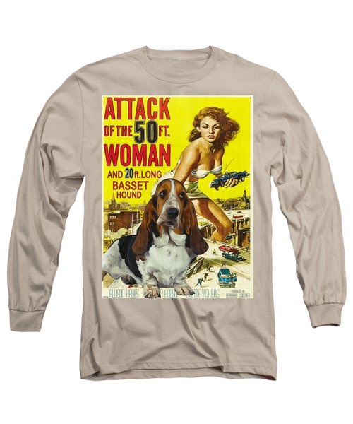 Basset Hound Art Canvas Print - Attack Of The 50ft Woman Movie Poster Long Sleeve T-Shirt