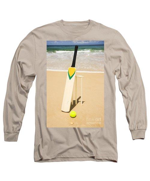 Bat Ball And Stumps Long Sleeve T-Shirt by Jorgo Photography - Wall Art Gallery