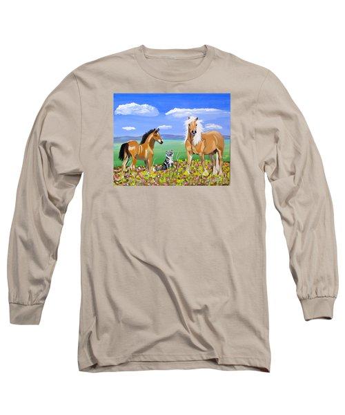 Bay Colt Golden Palomino And Pal Long Sleeve T-Shirt by Phyllis Kaltenbach