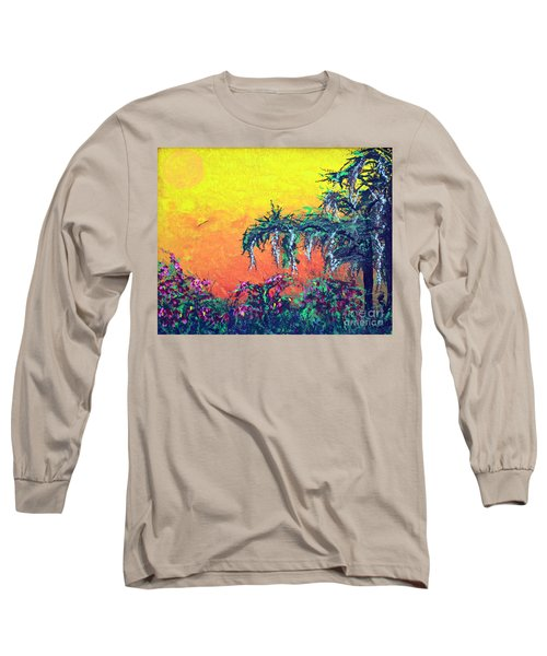 Long Sleeve T-Shirt featuring the painting Bayou Honeymoon by Alys Caviness-Gober