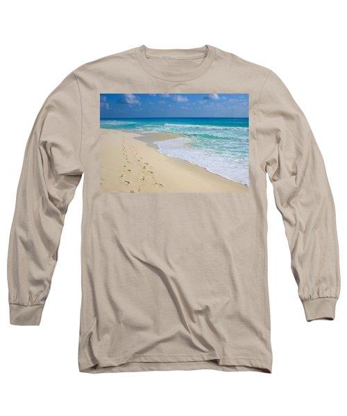 Beach Footprints Long Sleeve T-Shirt