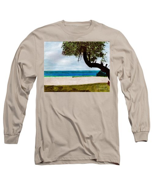 Long Sleeve T-Shirt featuring the drawing Beach Side by D Hackett