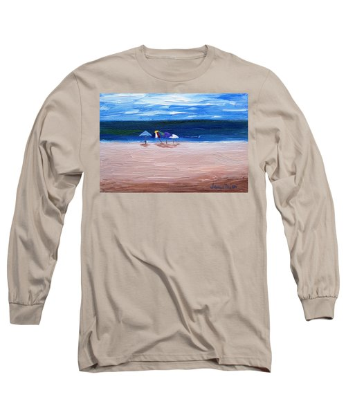 Long Sleeve T-Shirt featuring the painting Beach Umbrellas by Jamie Frier