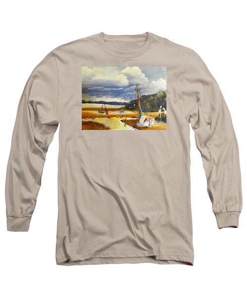 Beached Boat And Fishing Boat At Gippsland Lake Long Sleeve T-Shirt by Pamela  Meredith