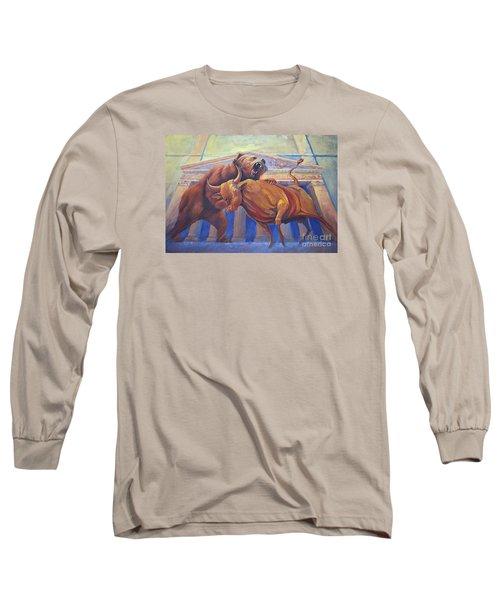 Bear Vs Bull Long Sleeve T-Shirt by Rob Corsetti