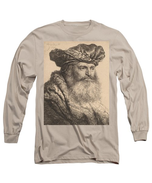 Bearded Man In A Velvet Cap With A Jewel Clasp Long Sleeve T-Shirt