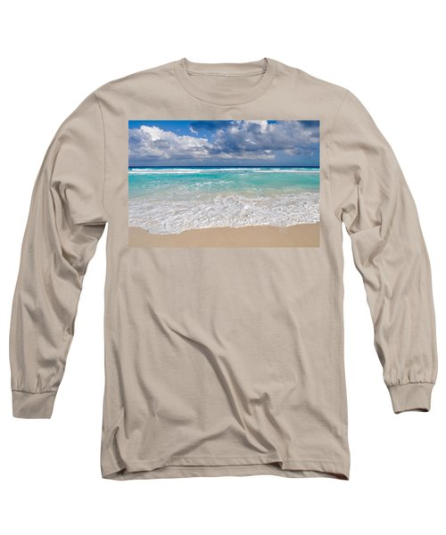 Beautiful Beach Ocean In Cancun Mexico Long Sleeve T-Shirt