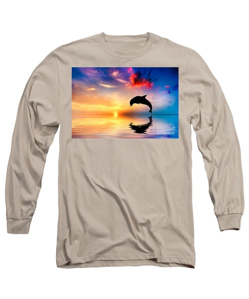 Beautiful Ocean And Sunset With Dolphin Jumping Long Sleeve T-Shirt
