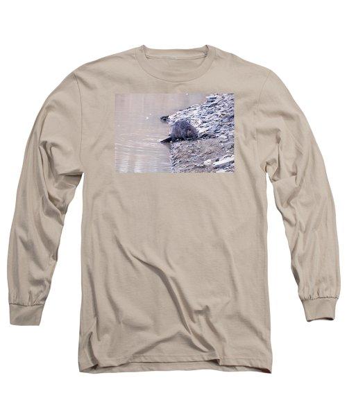 Beaver On Dry Land Long Sleeve T-Shirt by Chris Flees
