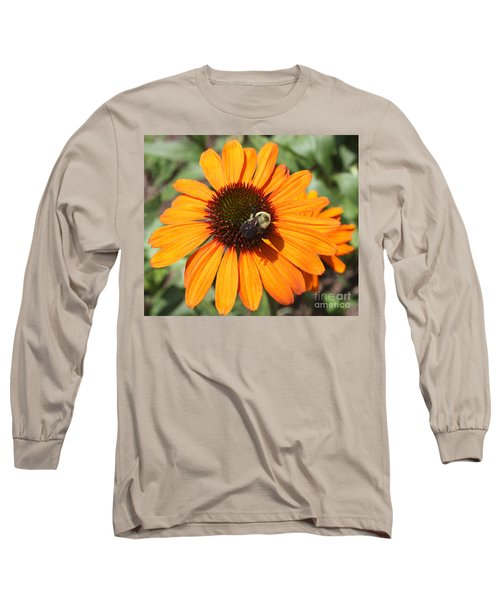 Long Sleeve T-Shirt featuring the photograph Bee On Flower by John Telfer