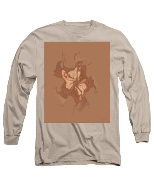 Beige Satin Morning Glory Long Sleeve T-Shirt
