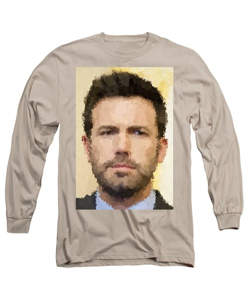 Ben Affleck Portrait Long Sleeve T-Shirt by Samuel Majcen