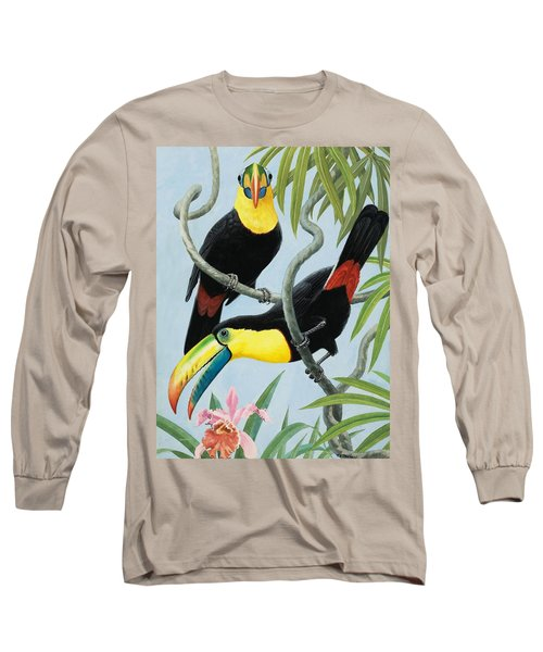 Big-beaked Birds Long Sleeve T-Shirt by RB Davis