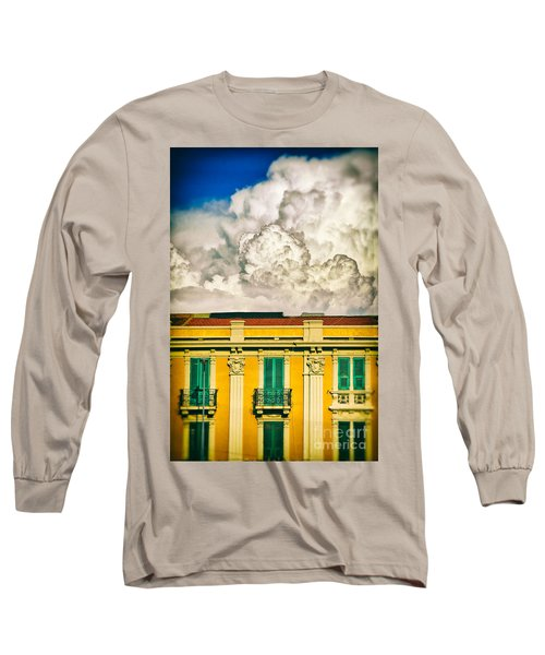 Long Sleeve T-Shirt featuring the photograph Big Cloud Over City Building by Silvia Ganora