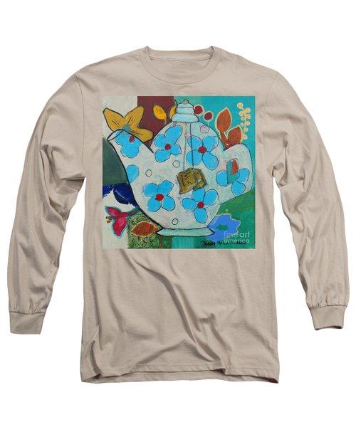 Big Floral Tea Pot Long Sleeve T-Shirt
