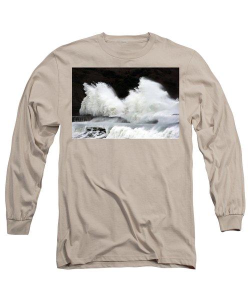 Big Waves Breaking On Breakwater Long Sleeve T-Shirt