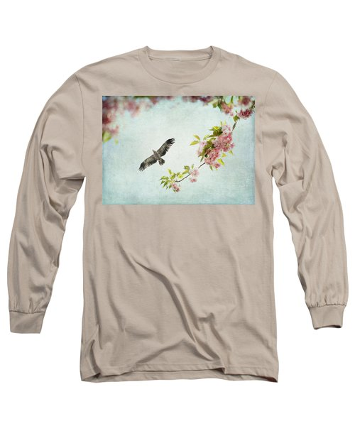 Long Sleeve T-Shirt featuring the photograph Bird And Pink And Green Flowering Branch On Blue by Brooke T Ryan