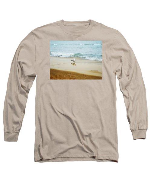 Bird On The Beach Long Sleeve T-Shirt by Milena Ilieva