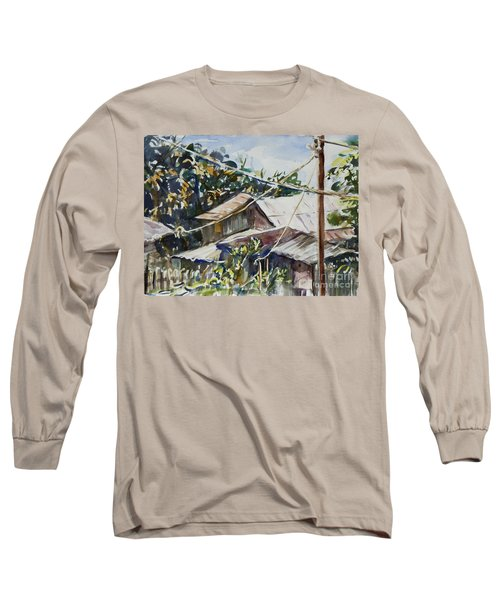 Long Sleeve T-Shirt featuring the painting Bird's Eye View by Xueling Zou