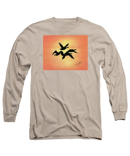 Long Sleeve T-Shirt featuring the drawing Birds Of Flight by Troy Levesque