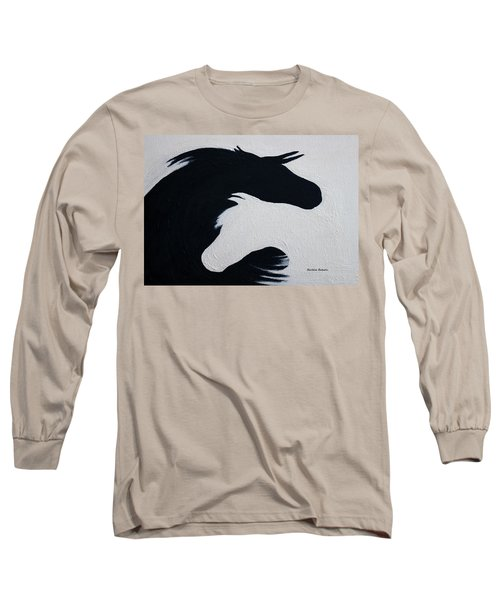 Black And White Horses Together Forever Long Sleeve T-Shirt