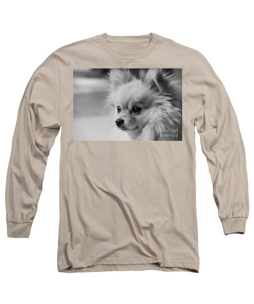 Black And White Portrait Of Pixie The Pomeranian Long Sleeve T-Shirt